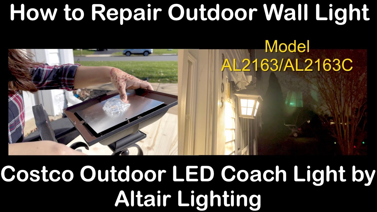 how to repair outdoor wall light costco outdoor led coach light by altair lighting al2163 al2163c