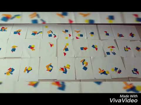 Menempel kertas bentuk geometri