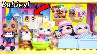 LOL Surprise Dolls Lil Punk Boi Sisters New Duplo House School + Wedding with JOJO SIWA Married