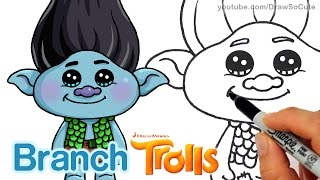 How to Draw Branch from Trolls Movie step by step Cute and Easy