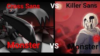 Cross Sans Vs Killer Sans Roblox Undertale Survive The Monsters: Monster Vs Monster