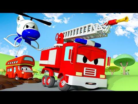 โคลนเหนียว 🚒 หน่วยลาดตระเวนรถ 🚨 การ์ตูนรถตำรวจและรถดับเพลิงสำหรับเด็ก Truck Cartoons for Kids
