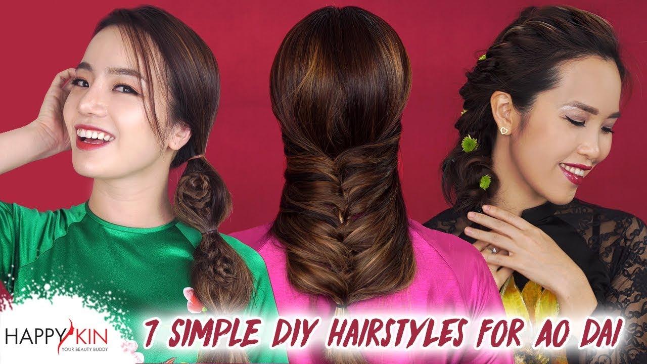 Hướng Dẫn 7 Kiểu Tết Tóc Đẹp & Dễ Để Mặc Áo Dài | Happy Skin | Tổng hợp kiến thức về tóc đẹp mới nhất