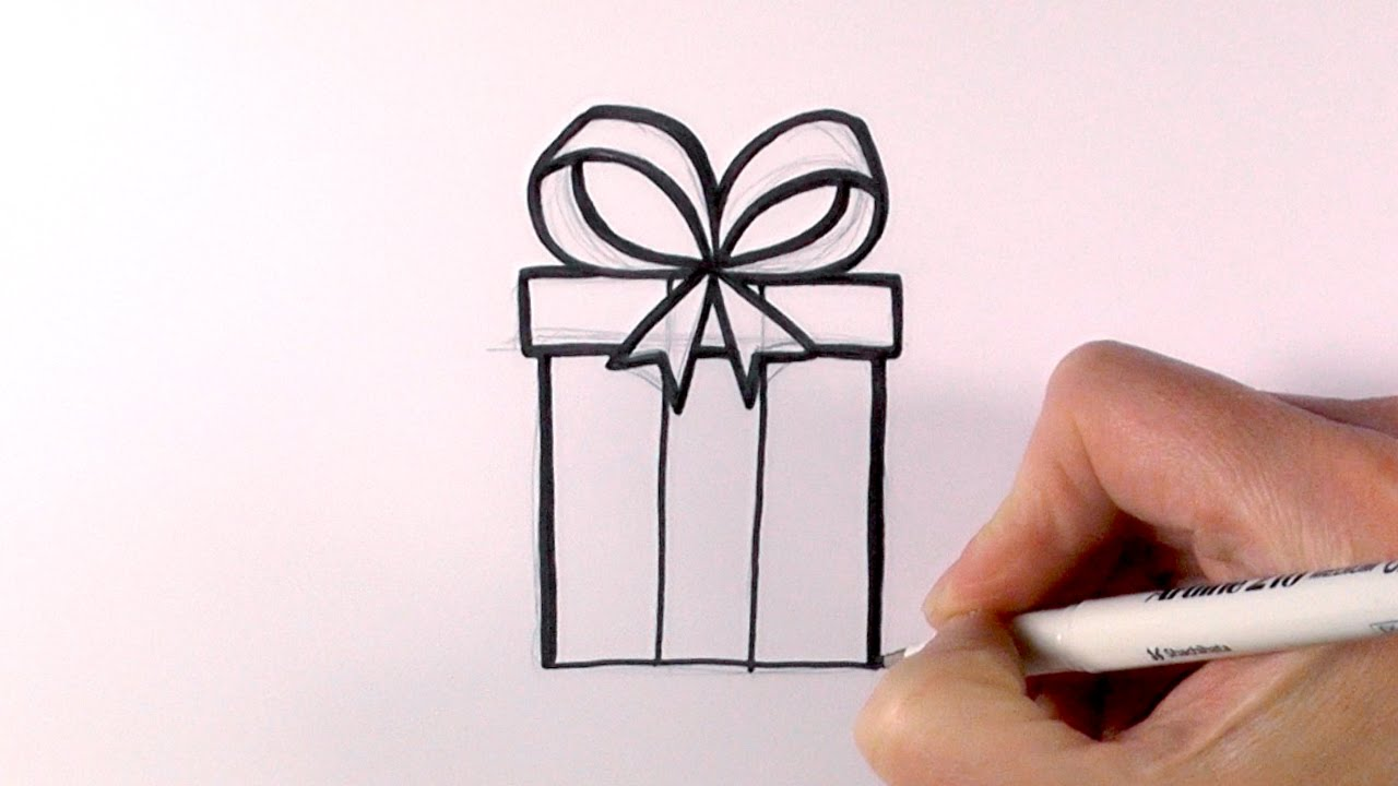 Drawings Of Christmas Presents.How To Draw A Christmas Present