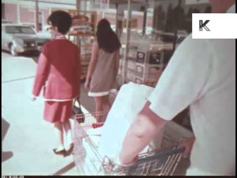 Late 60s Early 70s Supermarket Shopping, Clerk Loads Car, Americana