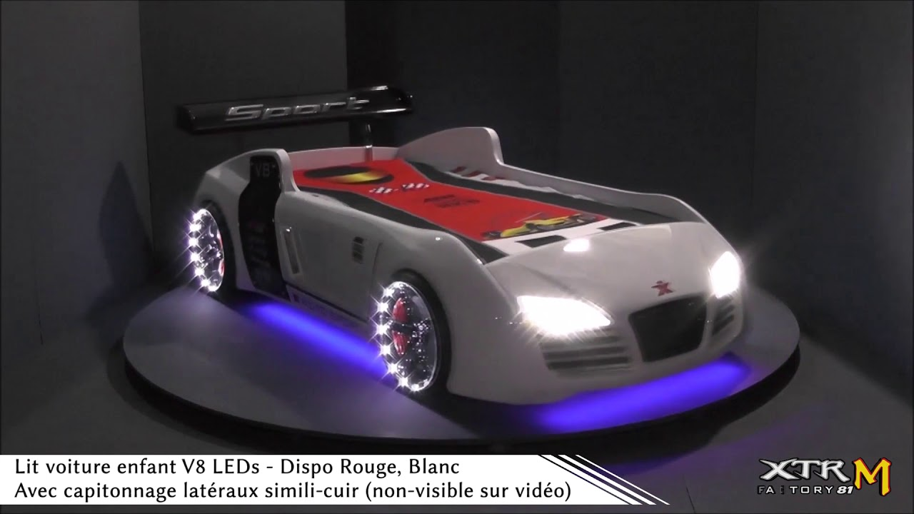 lit voiture enfant v8 clairage led youtube. Black Bedroom Furniture Sets. Home Design Ideas
