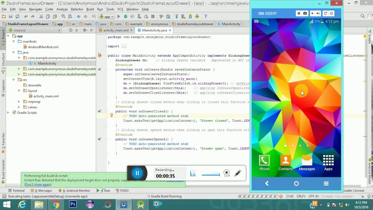 Android Frame Layout Example - Android Studio - YouTube