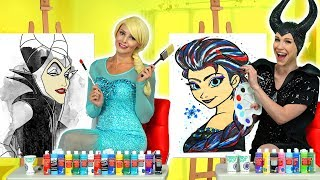 ELSA VS MALEFICENT PAINT EACH OTHER CHALLENGE WITH BELLE. Totally TV Videos for Teens.