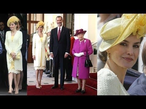 El look amarillo de la Reina Letizia en la visita a Reino Unido junto a la Reina Isabel II