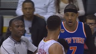 Carmelo anthony ejected for flagrant foul! overtime thriller knicks vs hawks