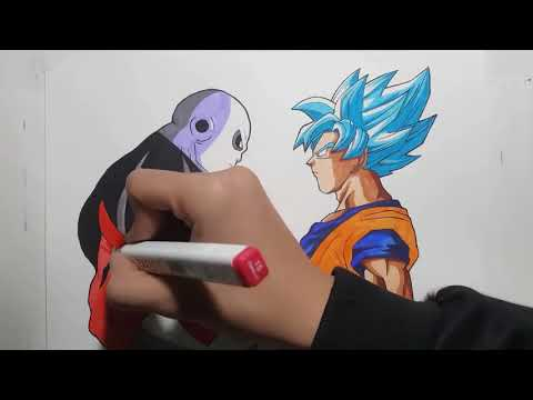 Speed Drawing GOKU ssj BLUE vs JIREN  Dragon  Ball Super   Vh Art