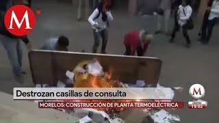 Queman casillas de consulta en Morelos