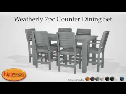 Weatherly 7pc Rectangular Counter Height Dining Set AD-CNW37