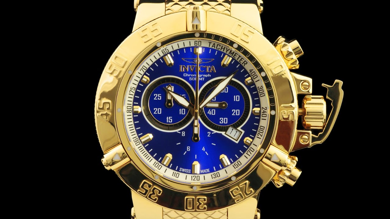 0e602193db5 Invicta 14501 Subaqua Noma III Mirror Polished 18kt Gold Plated Swiss  Quartz Chronograph