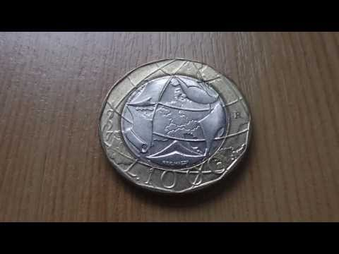 1000 Lira coin of Italy - Repvbblica Italiana in HD