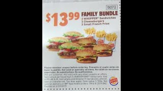 Burger King $13.99 Coupon Family Bundle review mukbang #bulking