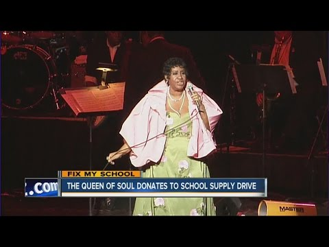 Aretha Franklin donates to school drive and Flint
