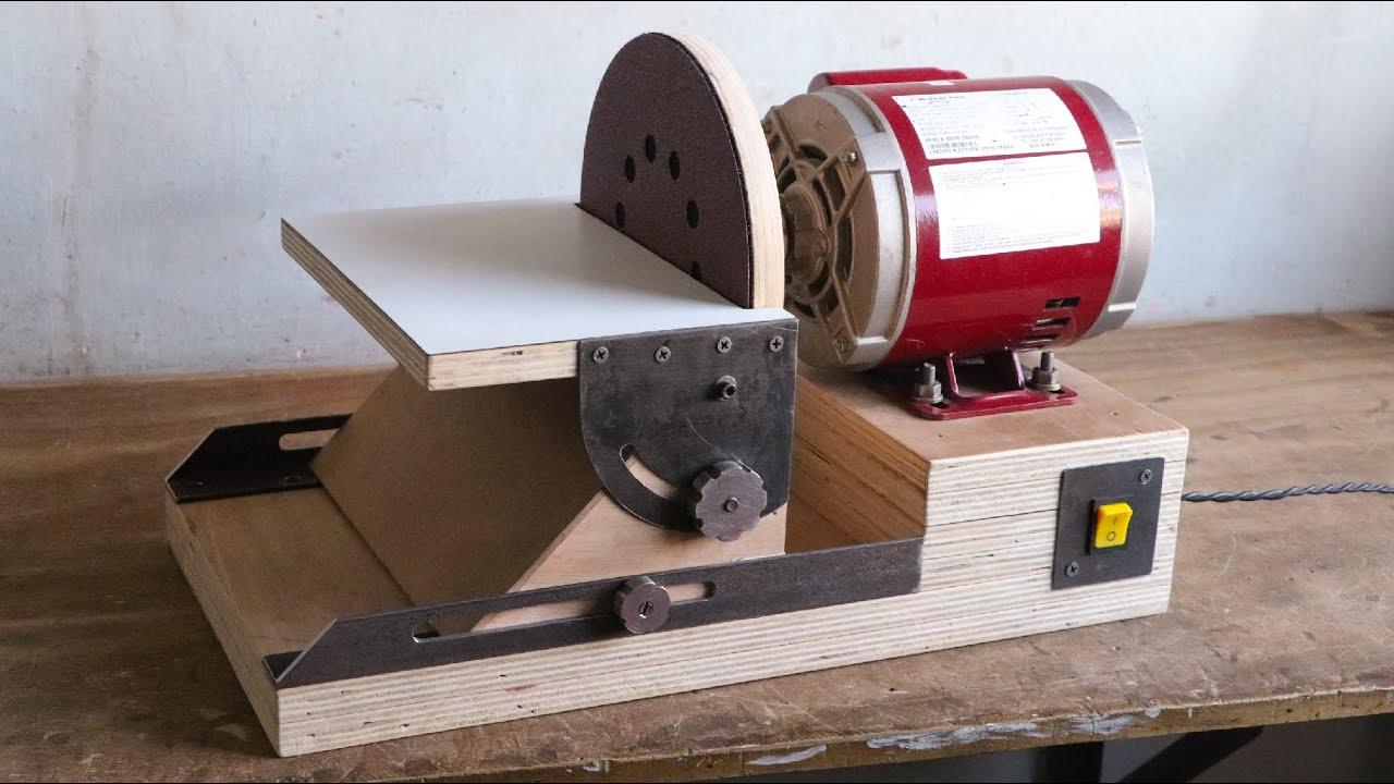 Как сделать 9-дюймовый дисковый шлифовальный станок ||  Сменный диск на липучке ||  Наклоняемая рабочая поверхность