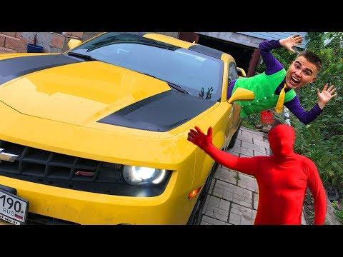 Mr. Joe on Camaro in Tire Service VS Red Man on Lamborghini Huracan BLOCKED Road for Kids