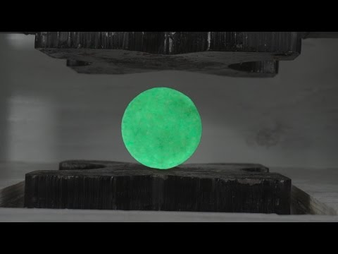 Is This Rock Radioactive? Glowing Rock Crushed By Hydraulic Press
