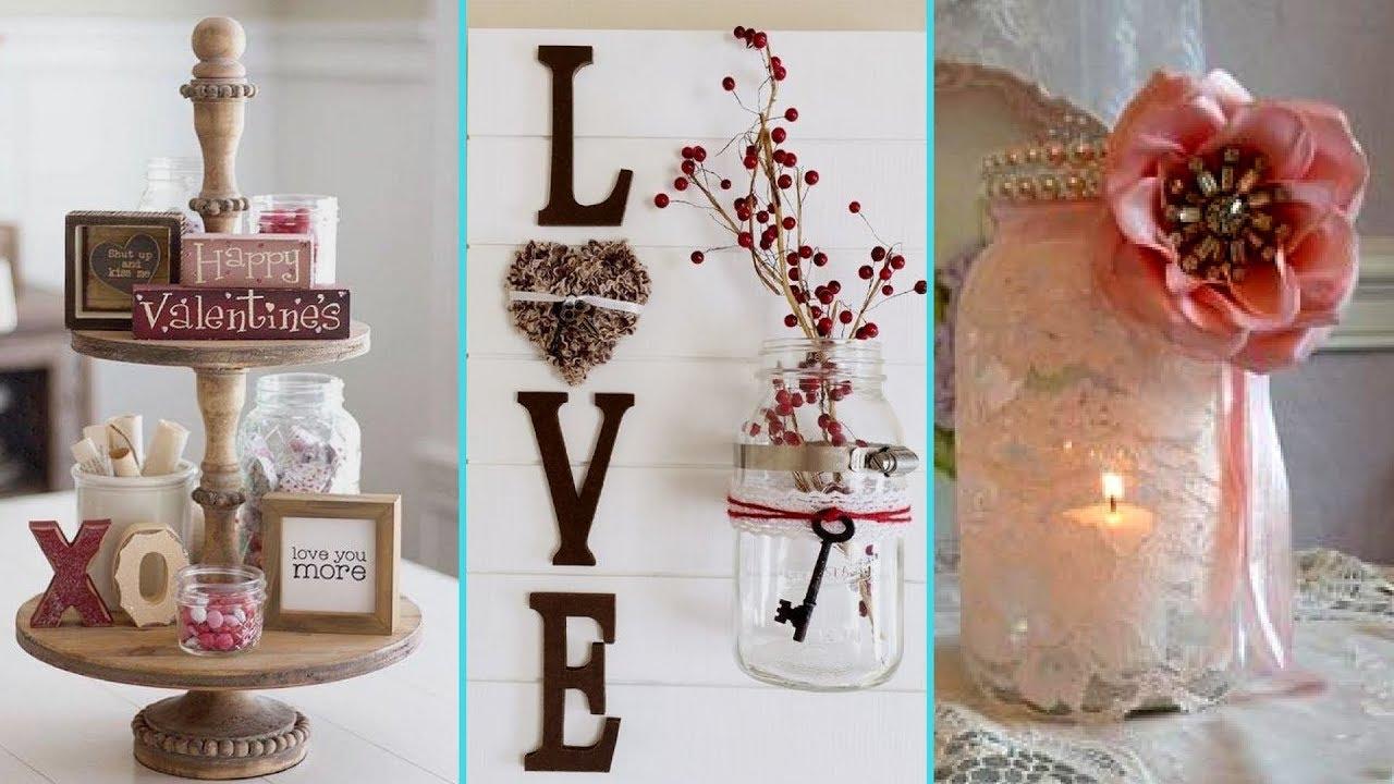 DIY Shabby chic style Valentine Mason Jar decor Ideas