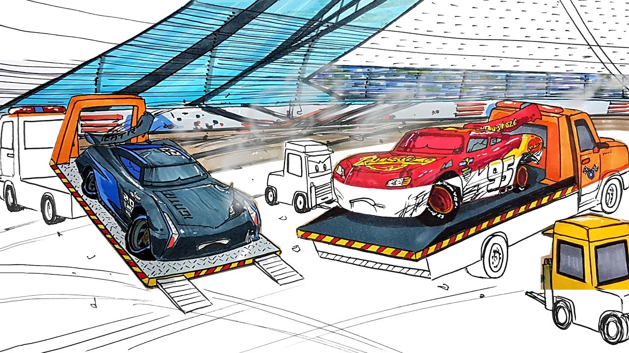 Rescuing Badly Injured LIGHTNING McQUEEN and JACKSON STORM . CARS 3 2.0 Drawing and Coloring Pages