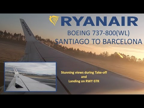 Ryanair B737 Santiago to Barcelona: stunning views during take-off!