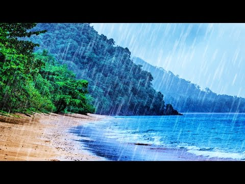 Rain on Beach White Noise  Tropical Rainstorm & Ocean Waves Sounds for Sleep, Studying, Relaxation