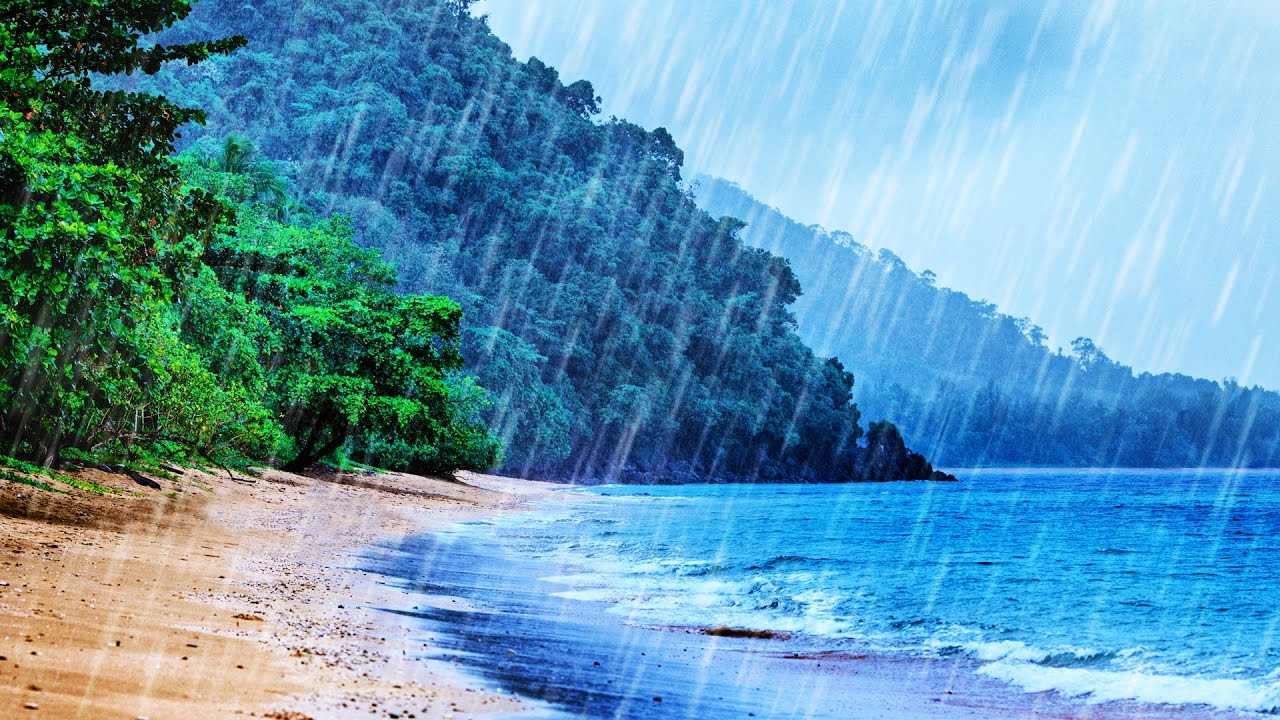 Tropical Island Beach Ambience Sound: Tropical Rainstorm & Ocean