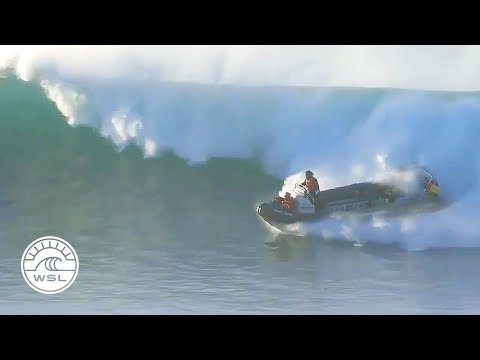 Safety Boat Gets Caught Inside Supertubes at Jeffreys Bay