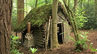 Primitive Log Cabin in the Woods - Moss Roof | Overnight Camp