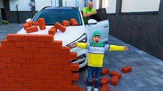 Застроил  ПАПИНУ машину КИРПИЧЁМ...  Built a wall of BRICK.