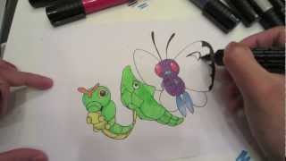 How to draw Pokemon: No.10 Caterpie, No.11 Metapod, No.12 Butterfree