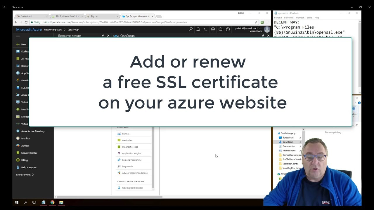 Add And Renew Ssl Certificates For Your Azure Website Youtube