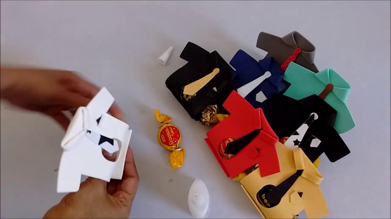 DIY: Lembrancinha Dia dos Pais: Porta Bombom Camisa. - YouTube