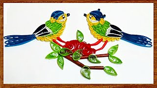 quilling artwork | How to make beautiful Love birds