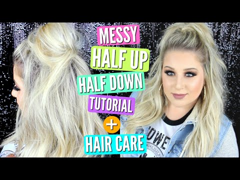 Messy Half Up Half Down Hair Tutorial + Current Blonde Hair Care Favorites!! | Ruby Remix