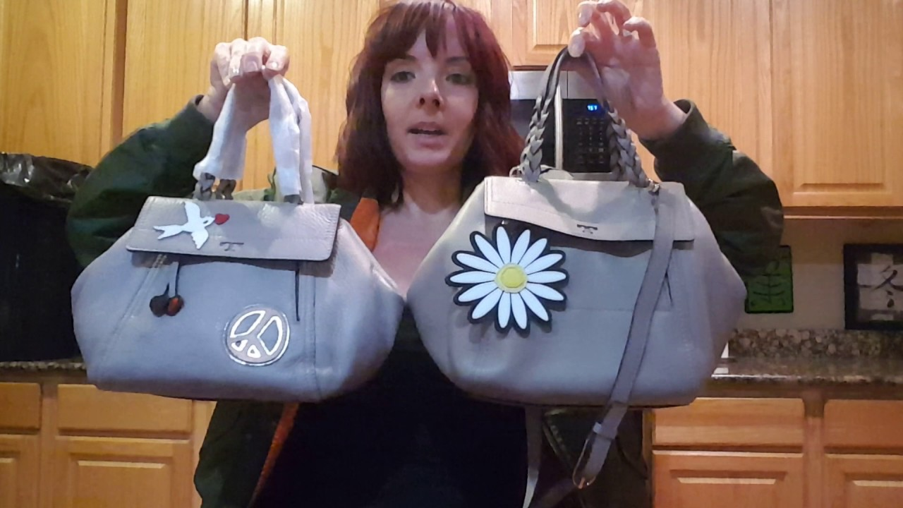 401eeabb920 REVIEW of tory burch half moon peace love satchel purse large and small  comparison handbag