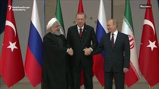 Iran's Hassan Rouhani, Turkey's Recep Tayyip Erdogan and Russia's Vladimir Putin after a summit on Syria on April 4.