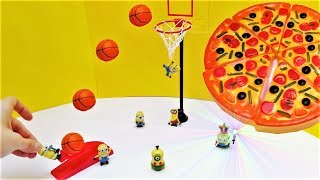Minions Basketball & Pizza Competition - Kids Toy Fun Play