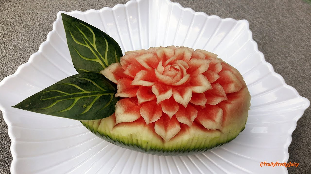 Watermelon flower carving fruit designing tutorial for