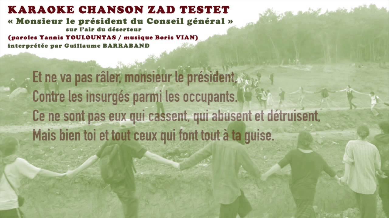 Karaoke Chanson Zad Testet   Monsieur Le Pr U00e9sident Du