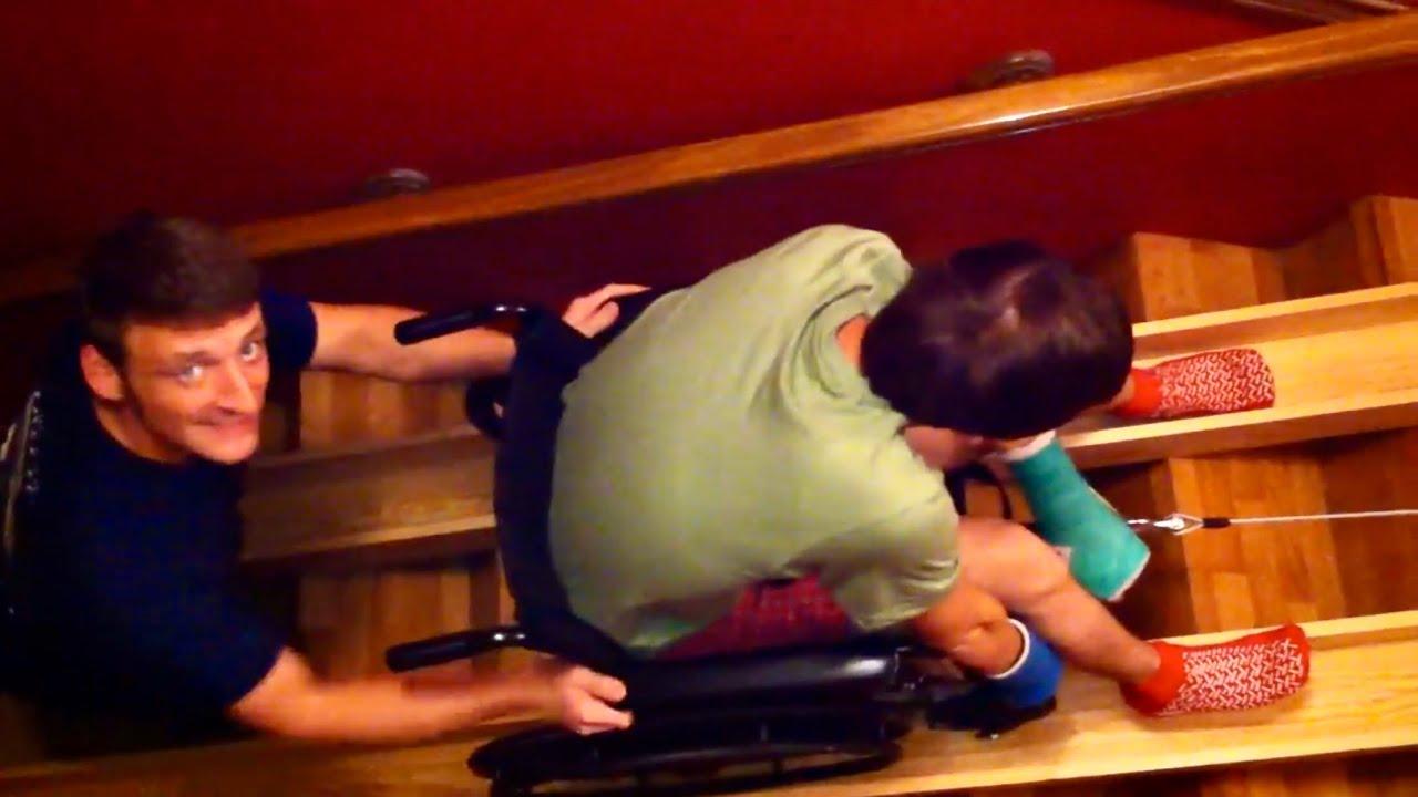 Red Neck Wheel Chair Ramp (Korey Hanks going upstairs) - YouTube