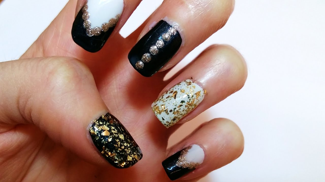 Black, Gold & White Nail Art Design Tutorial - Unghie in Nero, Oro e ...