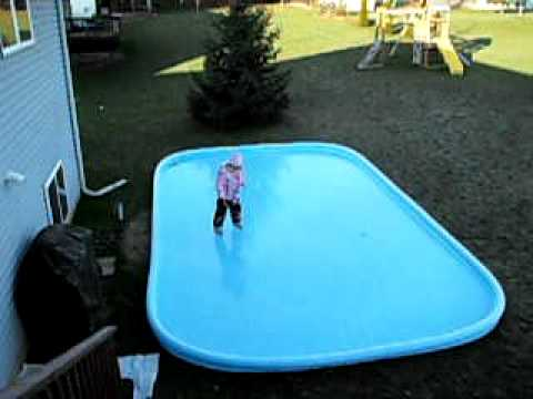 How To Make An Ice Skating Rink In Your Backyard lauren ice skating on backyard rink - youtube