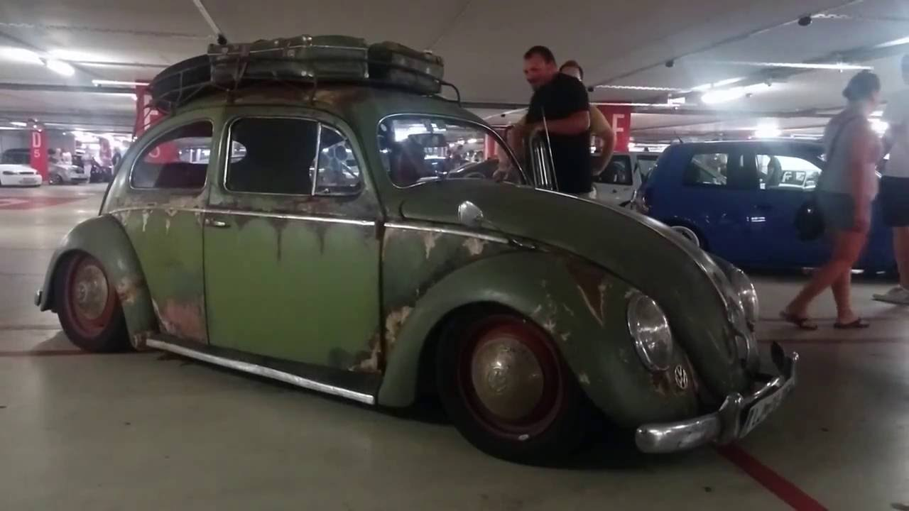 old rusted vw beetle with air suspension elgato custom car show [ 1280 x 720 Pixel ]