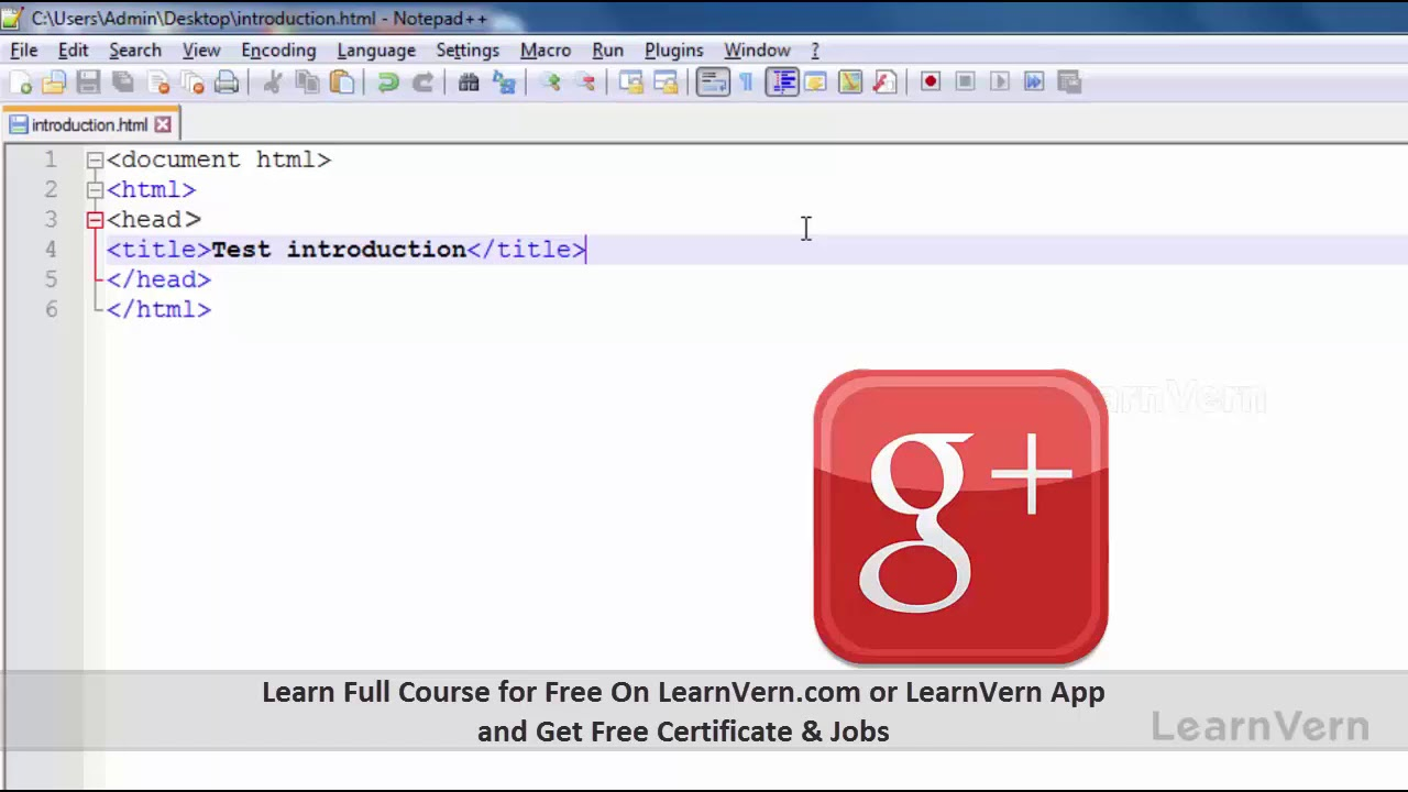 How to Write HTML Code in Notepad++ ?  Video Tutorial in Hindi  LearnVern