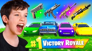 Extreme RAINBOW Car Challenge with My Little Brother! (100k VBucks)