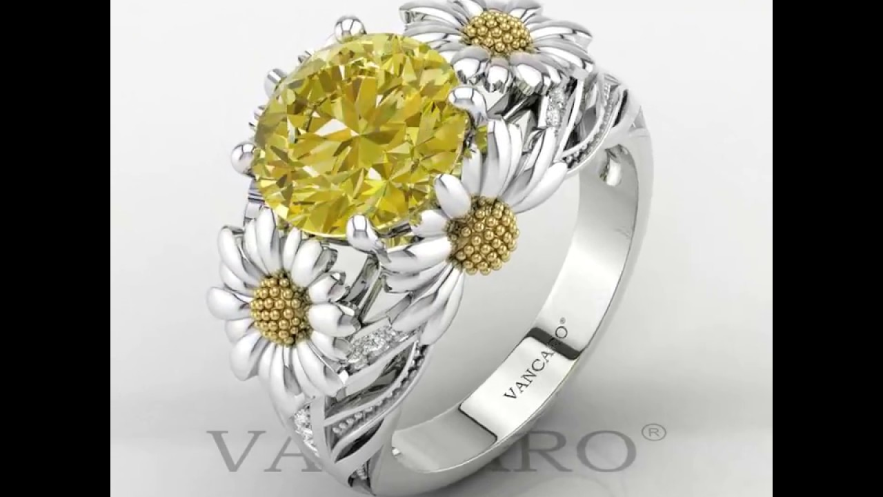 set engagement diamond white rings ring bezel gold daisy in flower