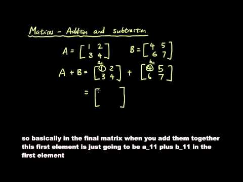 Matrices lesson 2 - Adding and subtracting matrices
